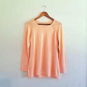 Eileen Fisher Merino Wool Pointelle Sweater Orange